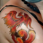 Фото тату птица феникс 18.07.2019 №010 - phoenix bird tattoo - tatufoto.com
