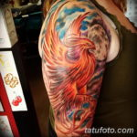 Фото тату птица феникс 18.07.2019 №011 - phoenix bird tattoo - tatufoto.com