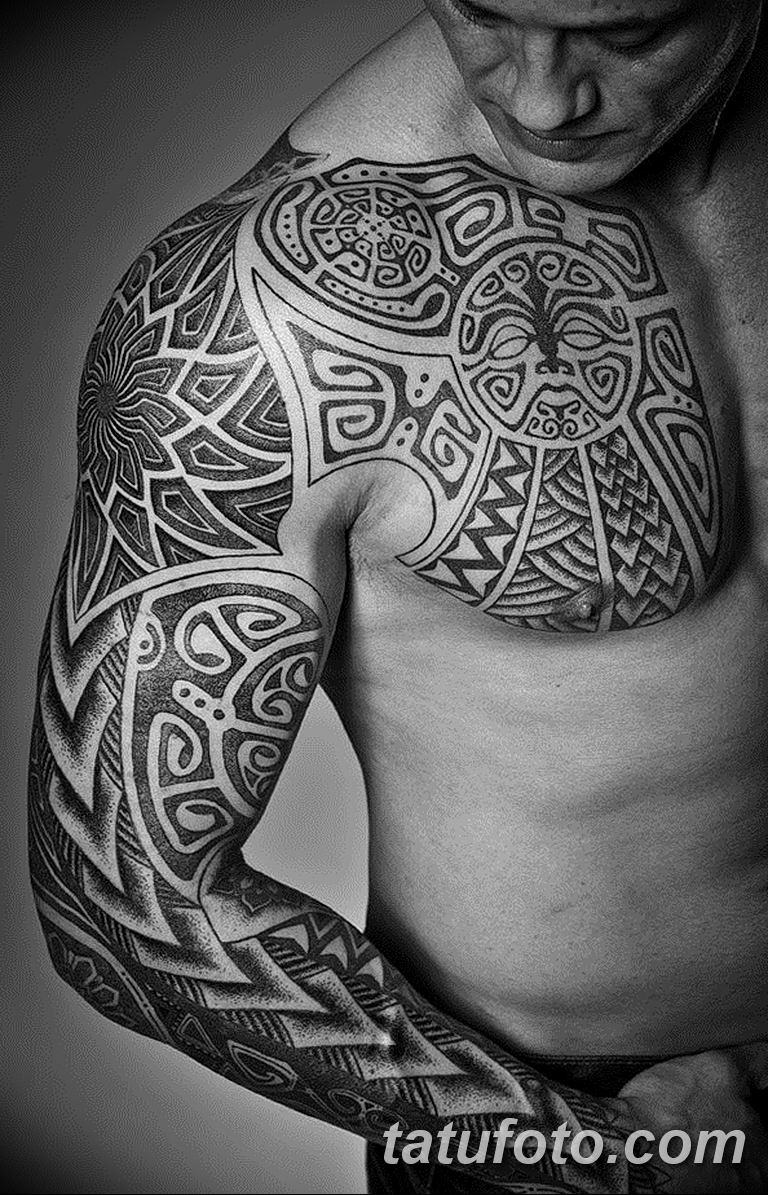 Фото тату рукав орнамент 10.07.2019 №028 - tattoo sleeve ornament - tatufoto.com