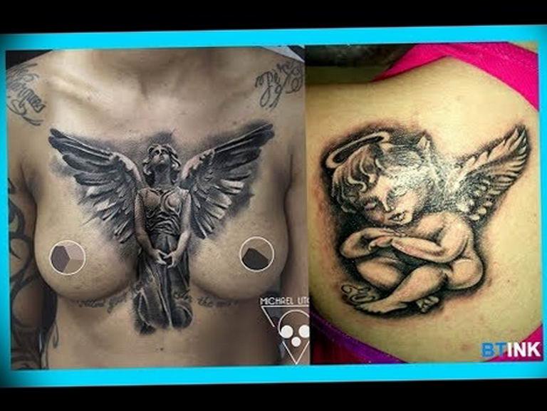 Фото красивые тату ангелов 12.08.2019 №014 - beautiful angels tattoos - tatufoto.com