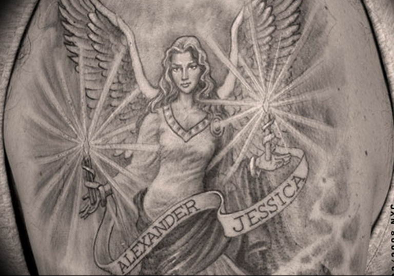 Фото красивые тату ангелов 12.08.2019 №041 - beautiful angels tattoos - tatufoto.com