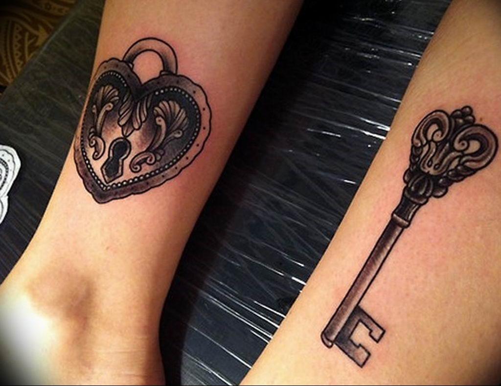 Фото парные тату ключ 21.08.2019 №011 - paired tattoo key - tatufoto.com