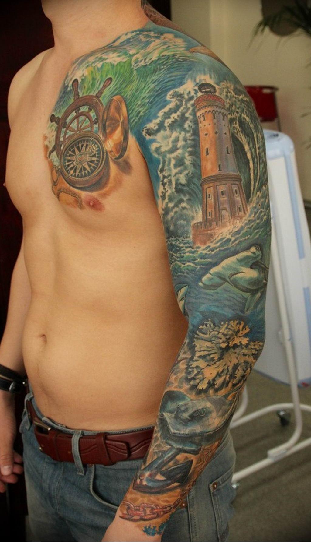 Фото пример тату океан 13.08.2019 №008 - ocean tattoo - tatufoto.com
