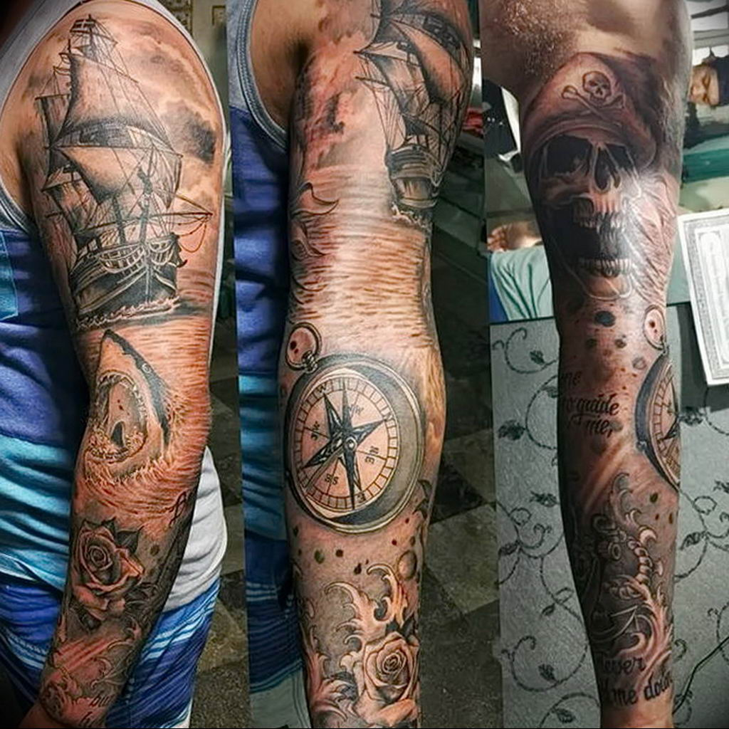Фото пример тату океан 13.08.2019 №027 - ocean tattoo - tatufoto.com