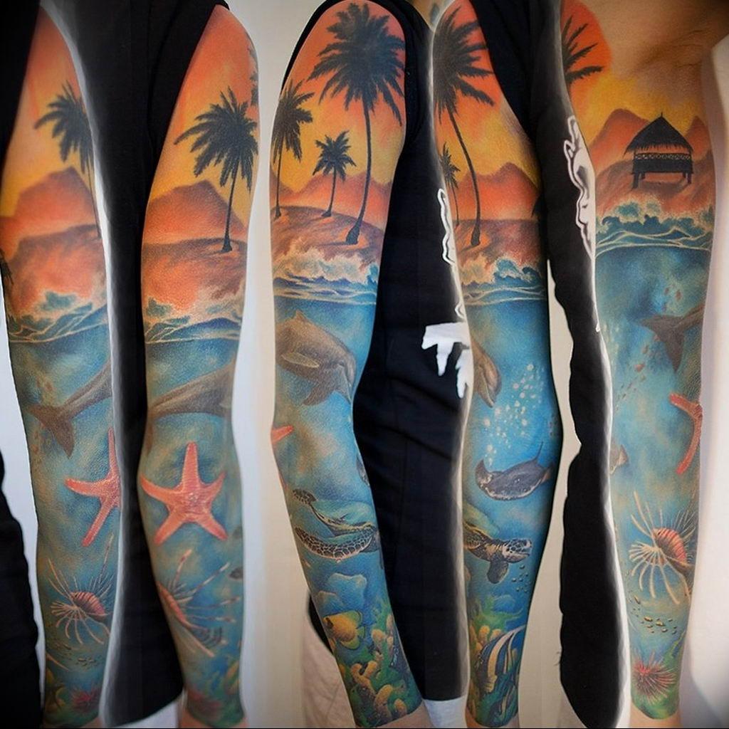 Фото пример тату океан 13.08.2019 №040 - ocean tattoo - tatufoto.com
