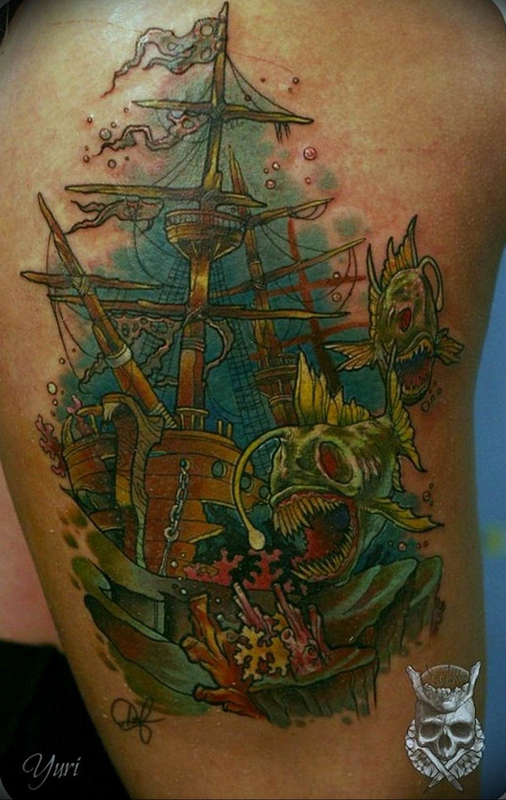 Фото пример тату океан 13.08.2019 №057 - ocean tattoo - tatufoto.com