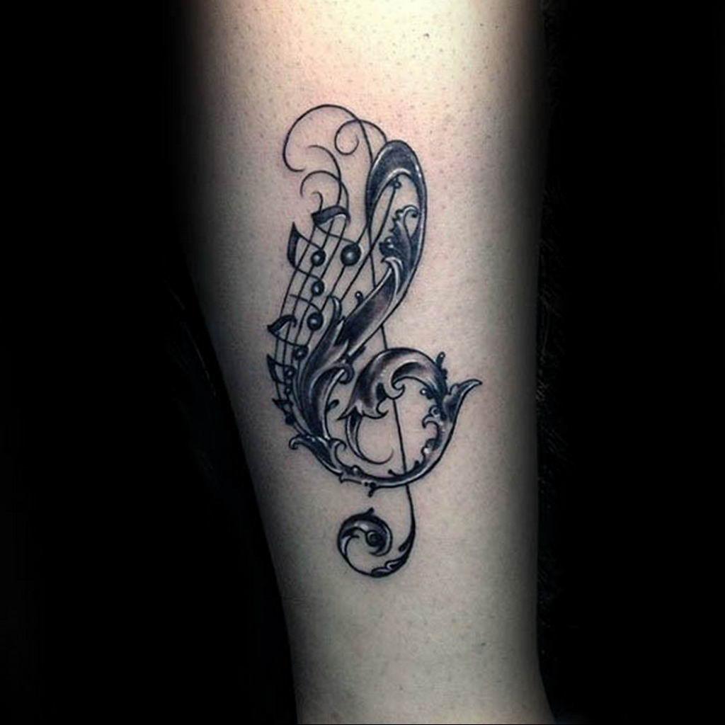 Фото скрипичный ключ тату 21.08.2019 №003 - treble clef tattoo - tatufoto.com