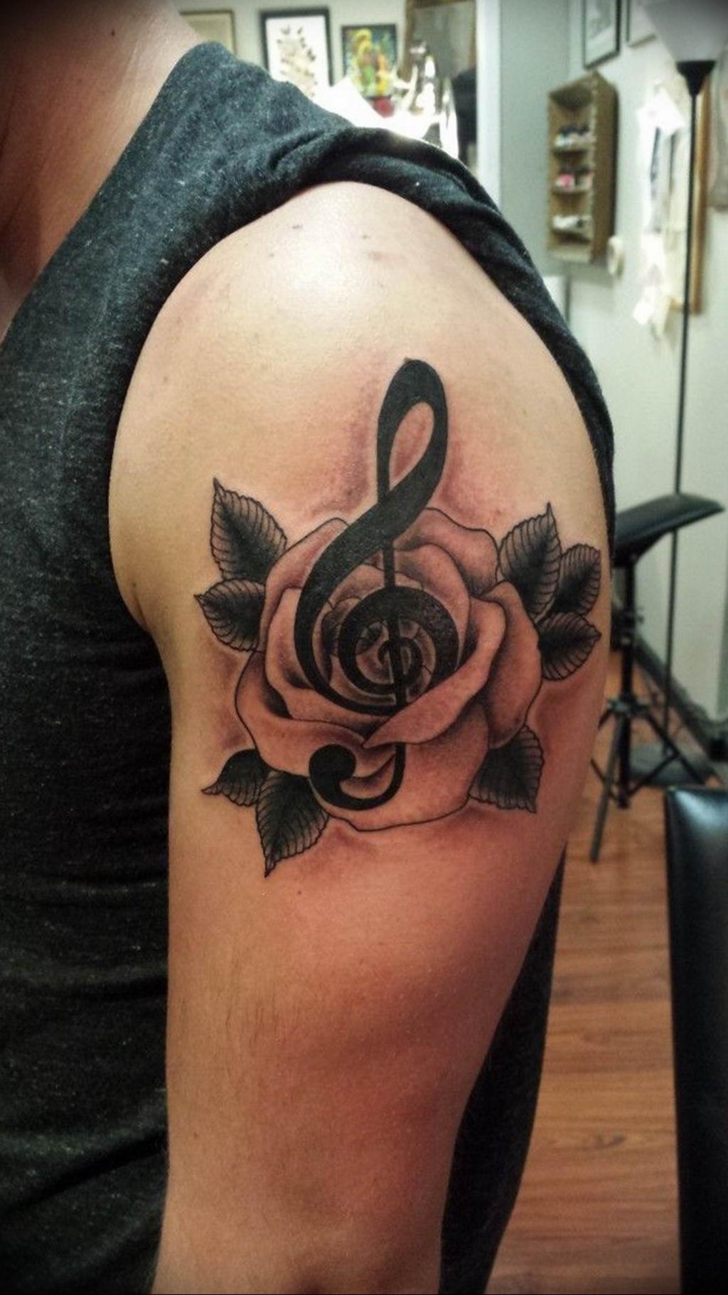 Фото скрипичный ключ тату 21.08.2019 №020 - treble clef tattoo - tatufoto.com