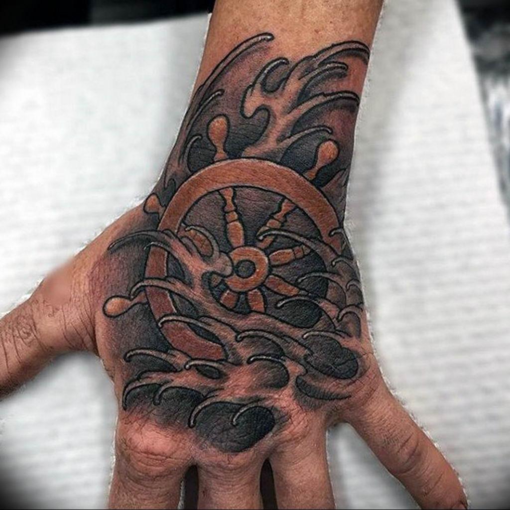 Фото тату океан на руке 13.08.2019 №004 - ocean tattoo on hand - tatufoto.com
