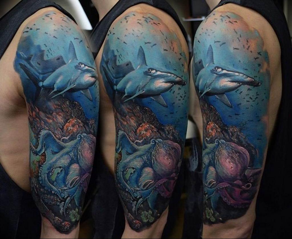 Фото тату океан 13.08.2019 №043 - ocean tattoo - tatufoto.com