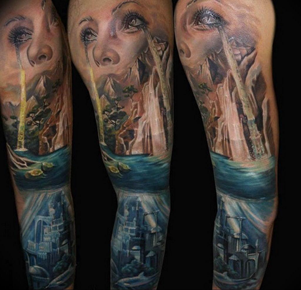 Фото тату океан 13.08.2019 №072 - ocean tattoo - tatufoto.com