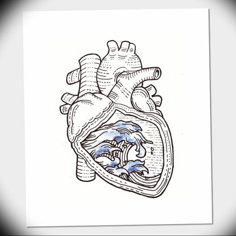 Фото тату сердце океана 13.08.2019 №004 - ocean heart tattoo - tatufoto.com