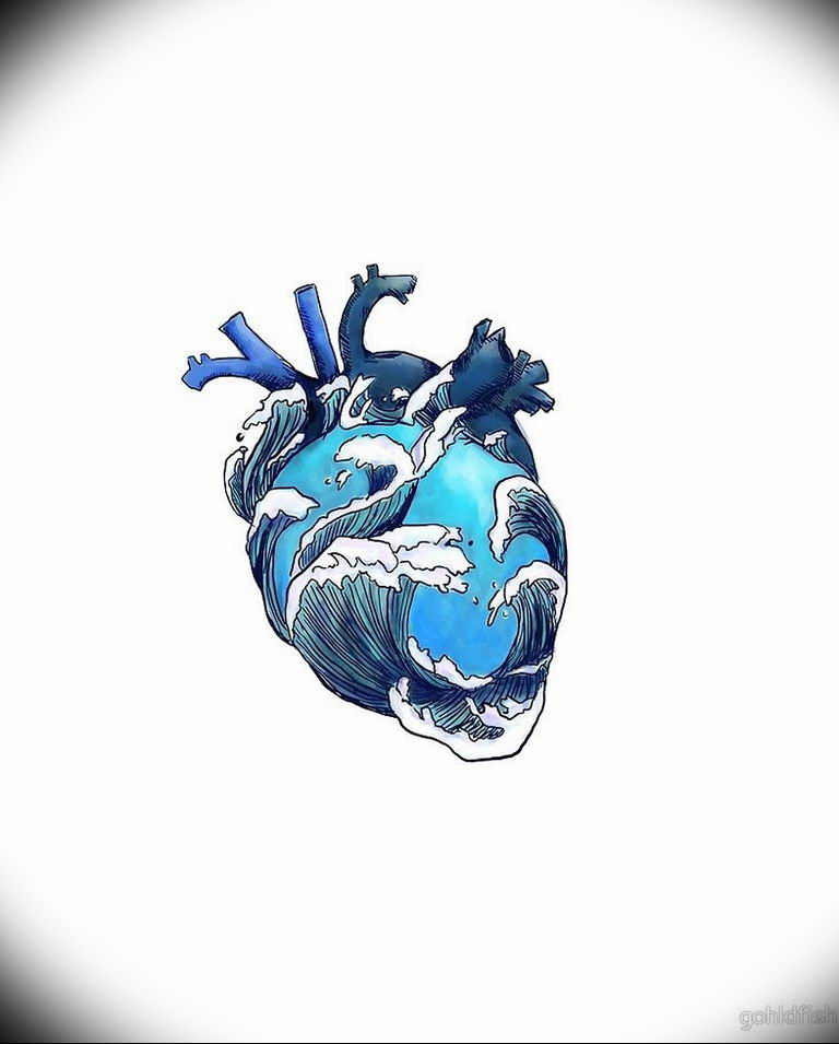 Фото тату сердце океана 13.08.2019 №015 - ocean heart tattoo - tatufoto.com