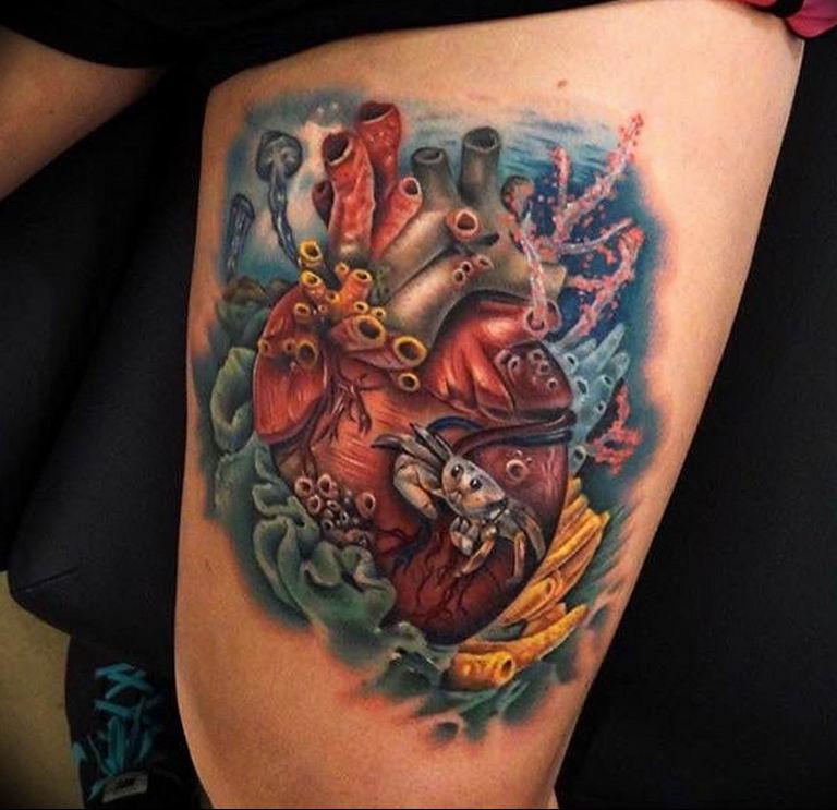 Фото тату сердце океана 13.08.2019 №019 - ocean heart tattoo - tatufoto.com