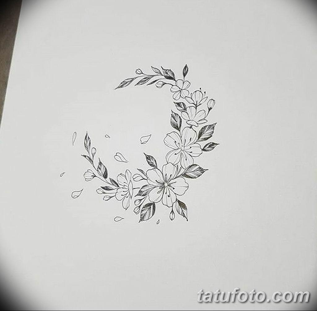 Фото эскиза тату жасмин 22.08.2019 №002 - jasmine tattoo sketch - tatufoto.com
