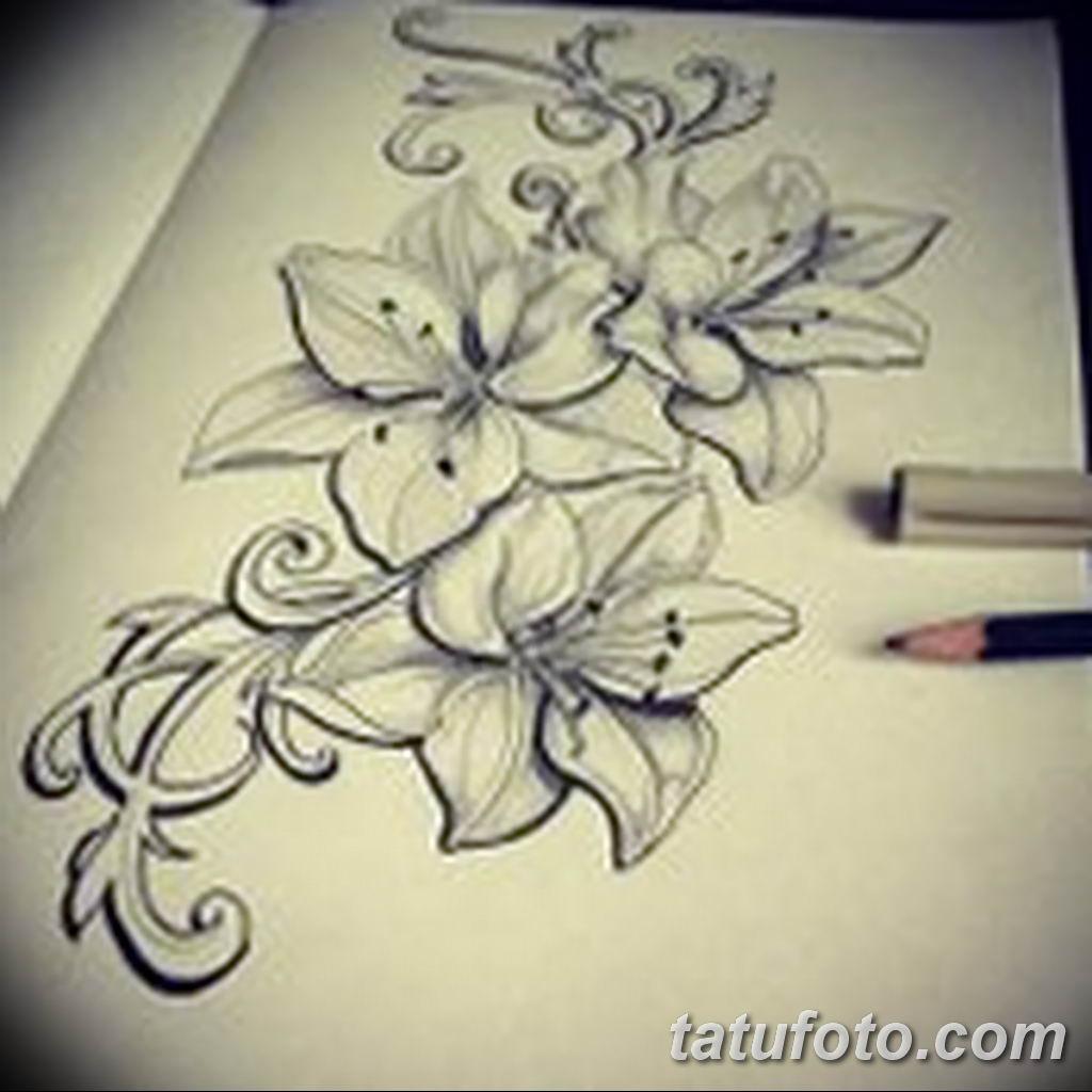 Фото эскиза тату жасмин 22.08.2019 №027 - jasmine tattoo sketch - tatufoto.com
