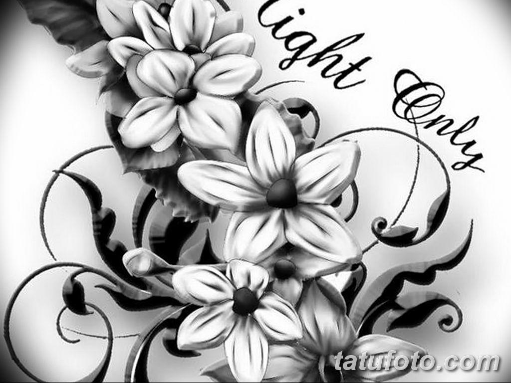 Фото эскиза тату жасмин 22.08.2019 №042 - jasmine tattoo sketch - tatufoto.com