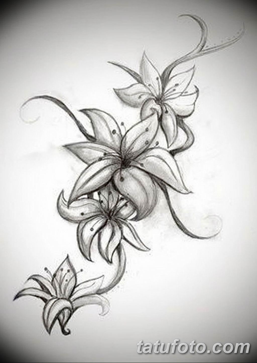 Фото эскиза тату жасмин 22.08.2019 №046 - jasmine tattoo sketch - tatufoto.com