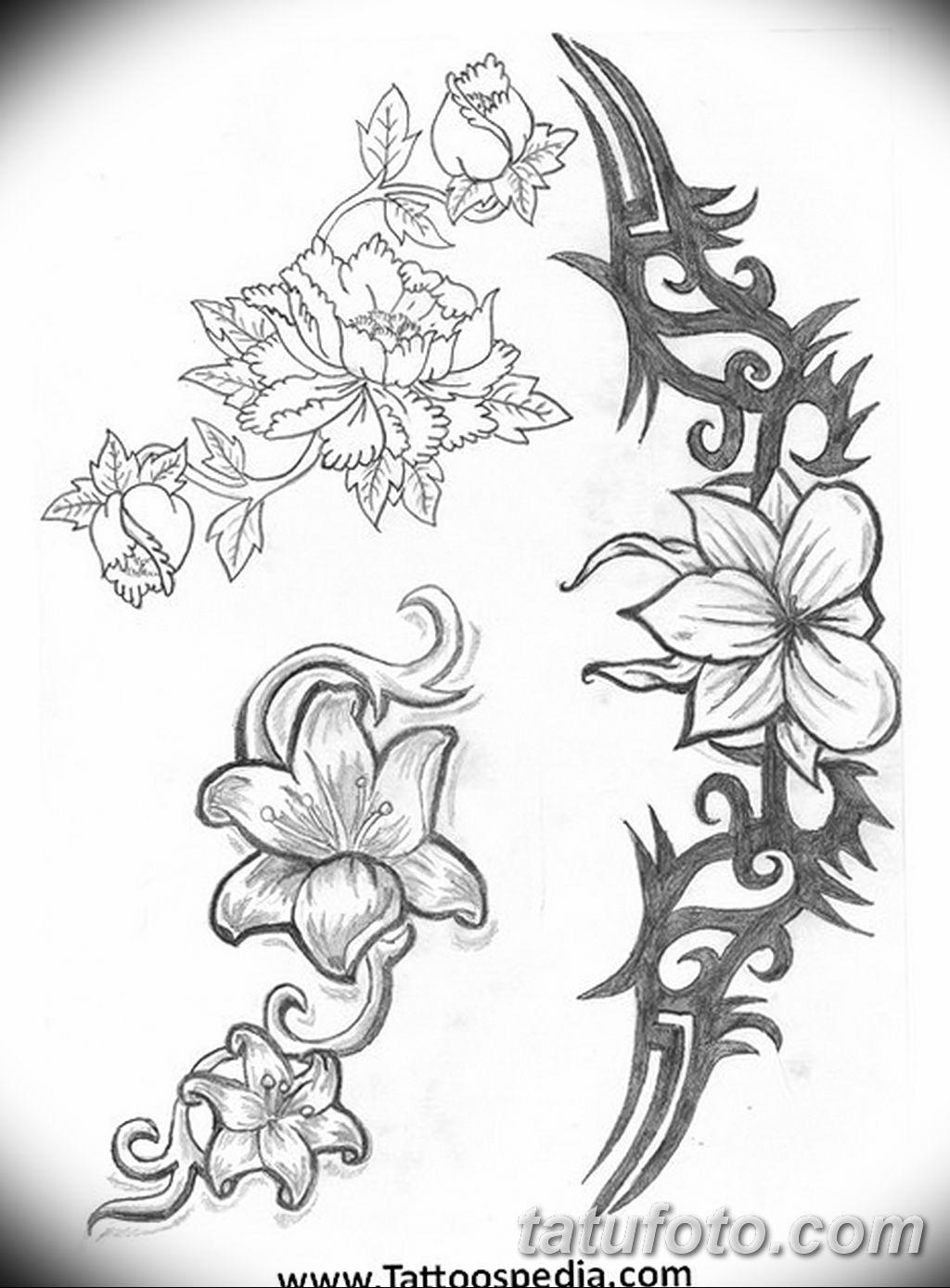 Фото эскиза тату жасмин 22.08.2019 №052 - jasmine tattoo sketch - tatufoto.com