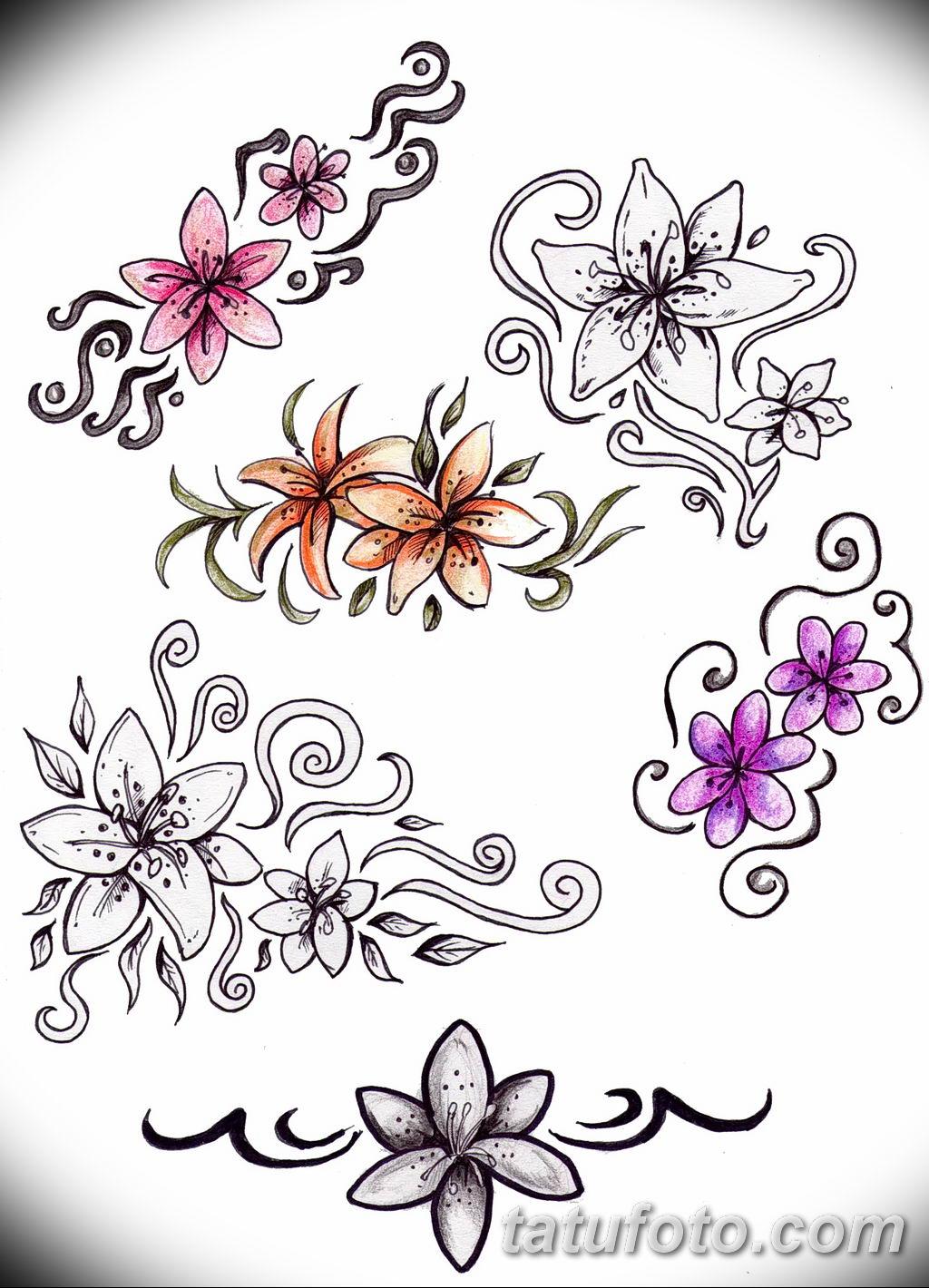 Фото эскиза тату жасмин 22.08.2019 №057 - jasmine tattoo sketch - tatufoto.com