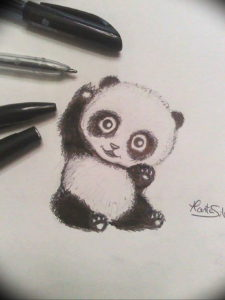 Фото эскиз тату панда маленькая 14.08.2019 №015 - sketch panda tattoo sm - tatufoto.com
