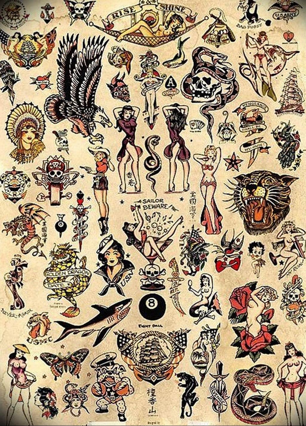 маленькие олд скул тату эскизы 14.08.2019 №040 - sketches small tattoo - tatufoto.com