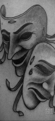 Вариант тату с театральной маской 09.09.2019 №001 – tattoo masks – tatufoto.com