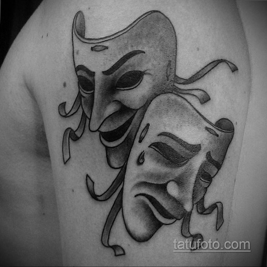 Вариант тату с театральной маской 09.09.2019 №001 - tattoo masks - tatufoto.com