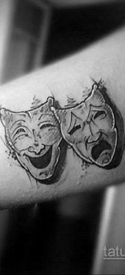 Вариант тату с театральной маской 09.09.2019 №003 – tattoo masks – tatufoto.com