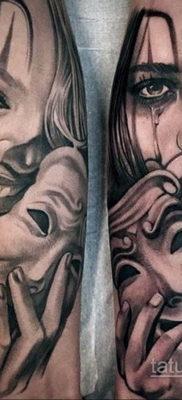 Вариант тату с театральной маской 09.09.2019 №008 – tattoo masks – tatufoto.com