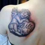 Тату маленький херувим для девушки 26.09.2019 №013 -cherub tattoo- tatufoto.com
