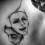 Фото две театральные маски тату 09.09.2019 №008 - tattoo theater masks - tatufoto.com