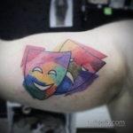 Фото две театральные маски тату 09.09.2019 №015 - tattoo theater masks - tatufoto.com