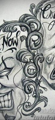 Фото тату маски театральные эскиз 09.09.2019 №035 – tattoo theater masks – tatufoto.com