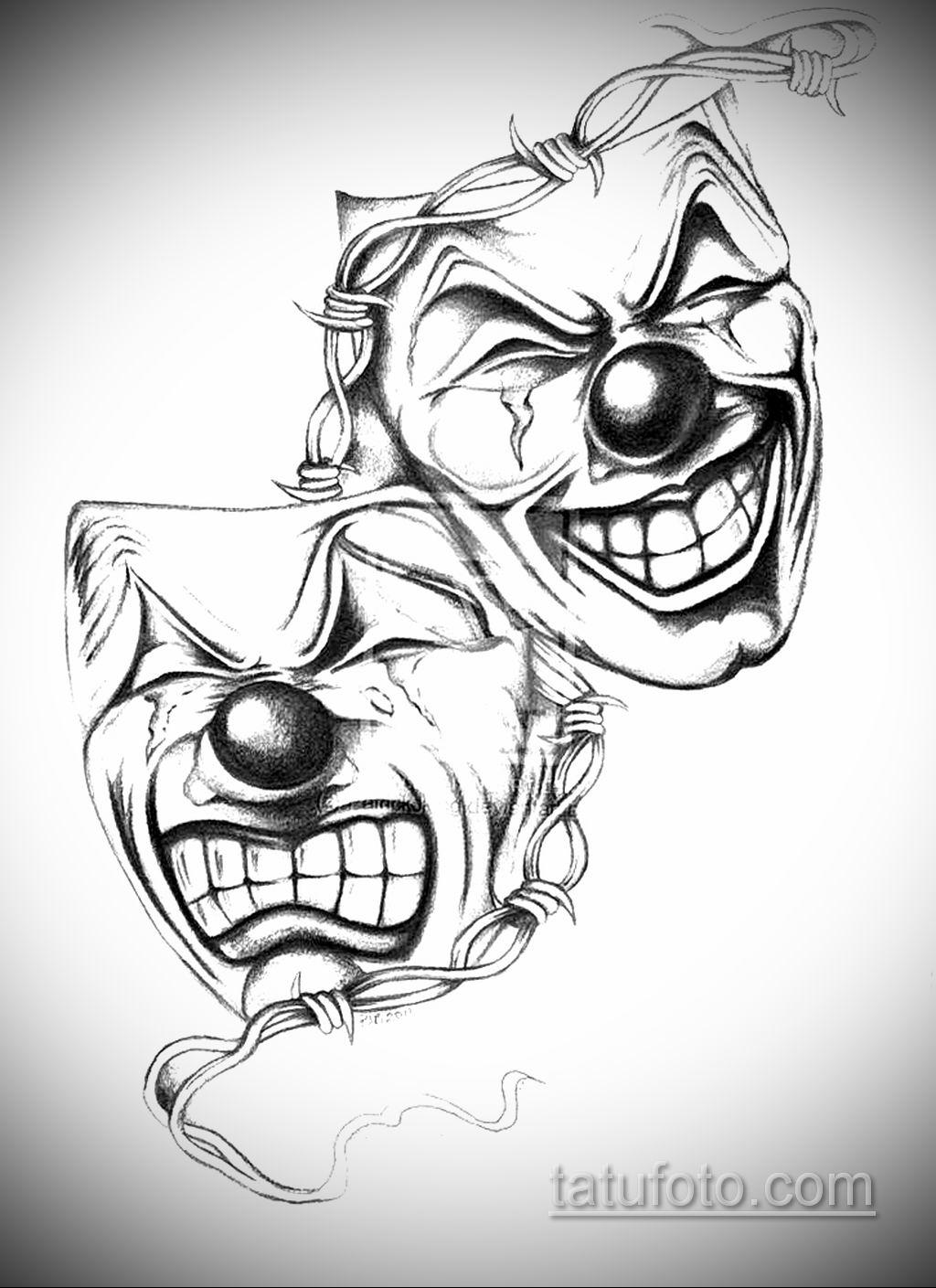 Фото тату театральные маски 09.09.2019 №033 - tattoo theater masks - tatufoto.com