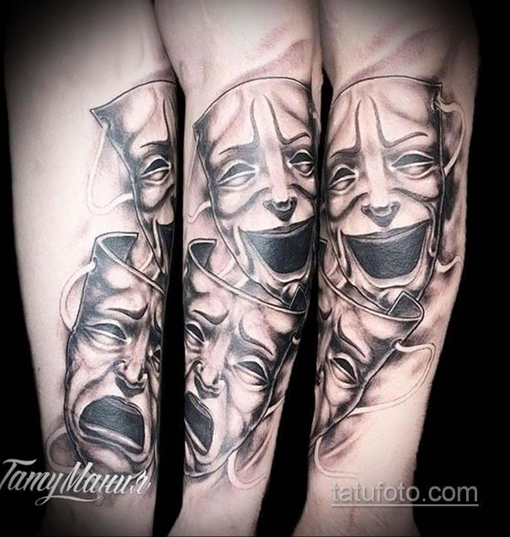 Фото тату театральные маски 09.09.2019 №043 - tattoo theater masks - tatufoto.com
