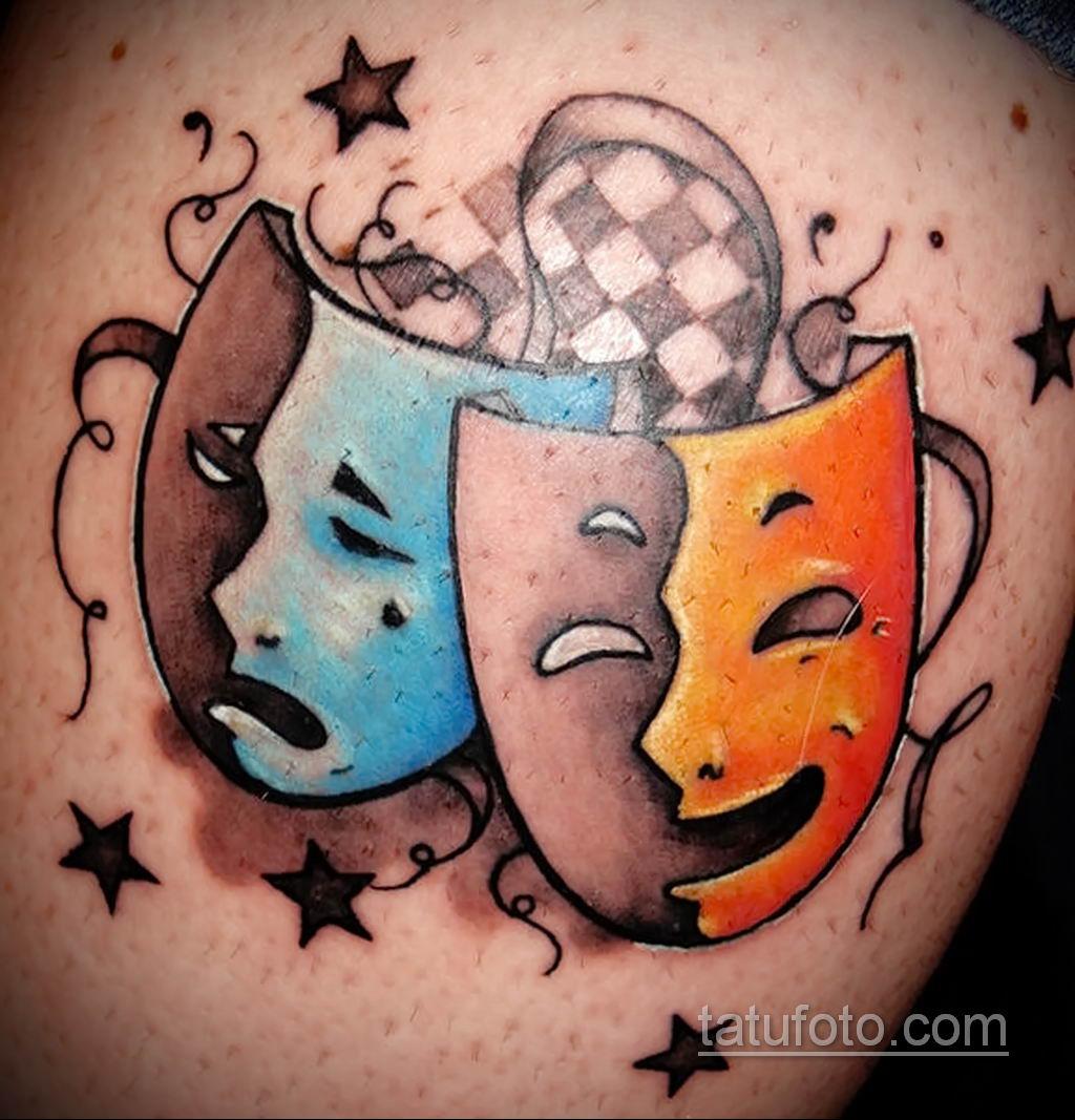Фото тату театральные маски 09.09.2019 №049 - tattoo theater masks - tatufoto.com