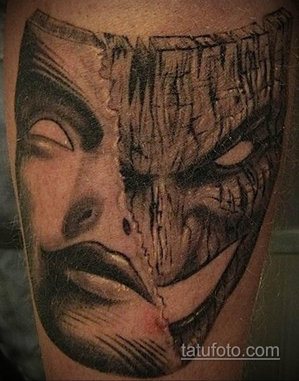Фото тату театральные маски 09.09.2019 №058 - tattoo theater masks - tatufoto.com