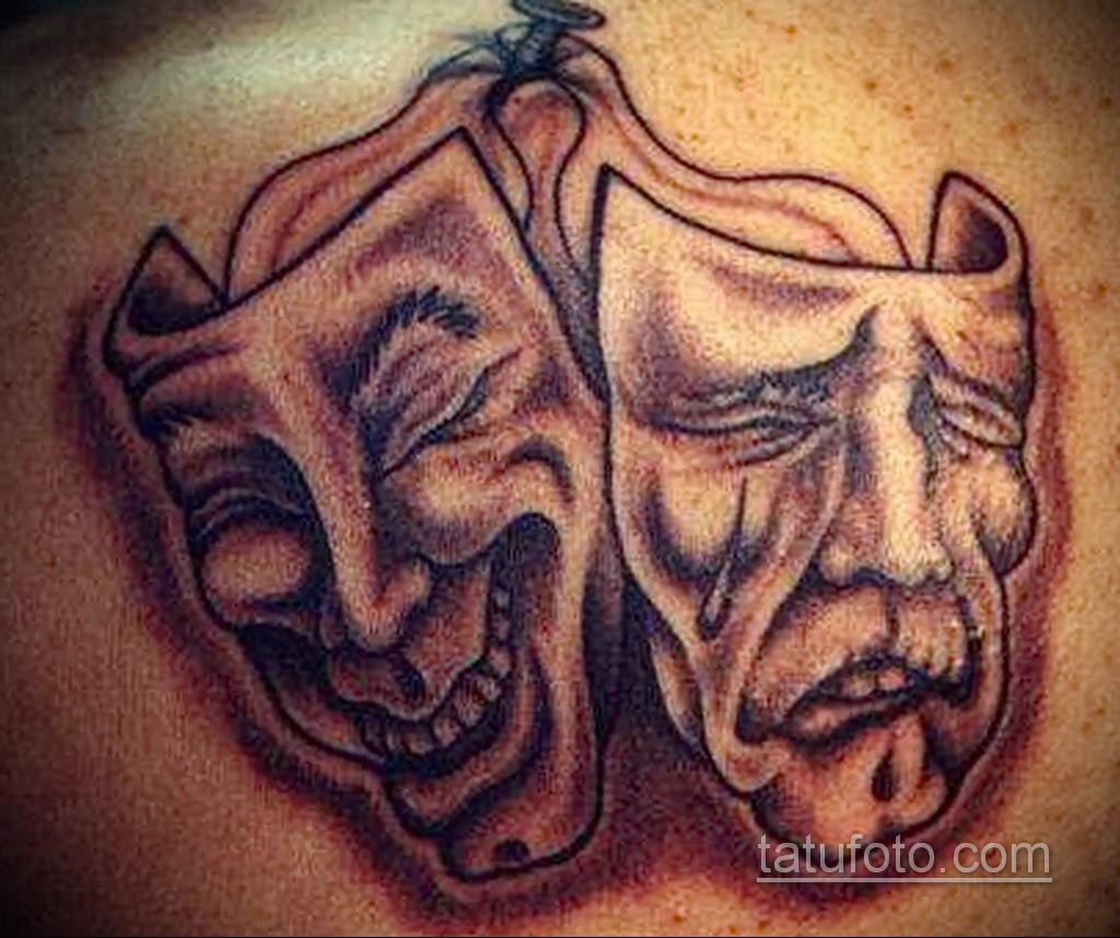 Фото тату театральные маски 09.09.2019 №062 - tattoo theater masks - tatufoto.com