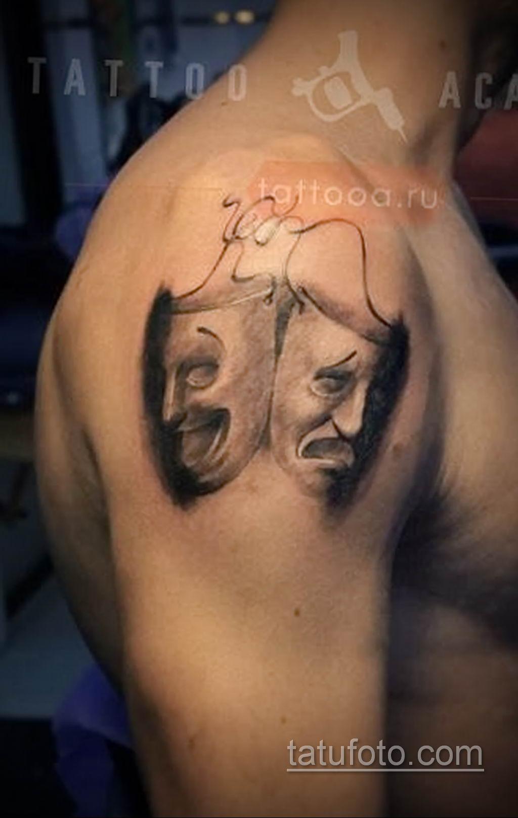 Фото тату театральные маски 09.09.2019 №068 - tattoo theater masks - tatufoto.com