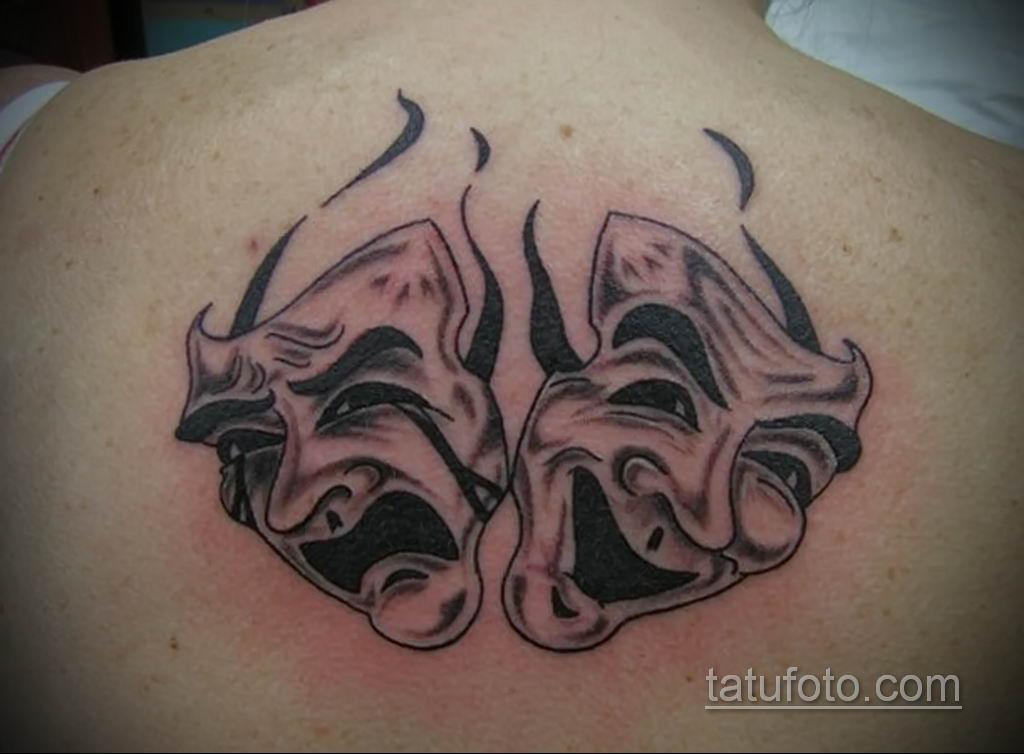 Фото тату театральные маски 09.09.2019 №072 - tattoo theater masks - tatufoto.com