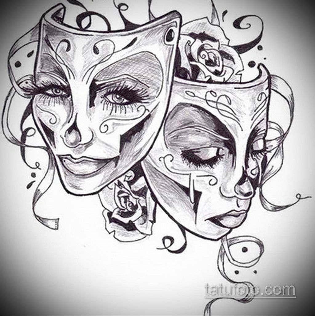 Фото тату театральные маски 09.09.2019 №074 - tattoo theater masks - tatufoto.com