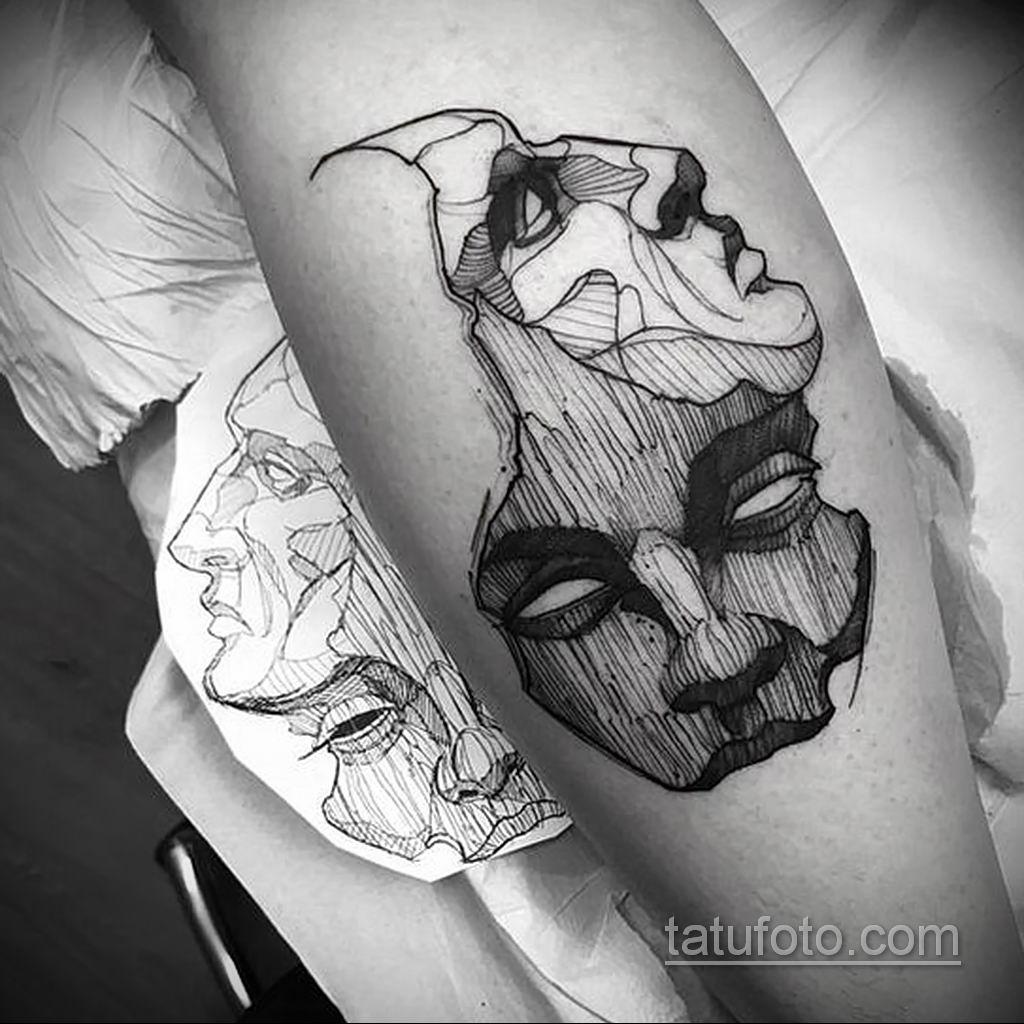 Фото тату театральные маски 09.09.2019 №075 - tattoo theater masks - tatufoto.com