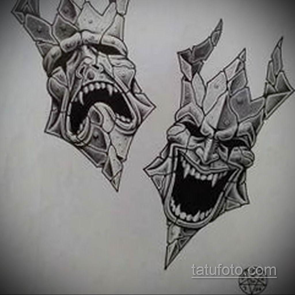 Фото тату театральные маски 09.09.2019 №087 - tattoo theater masks - tatufoto.com
