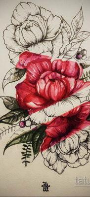 пионы цветные эскиз тату 16.09.2019 №011 – peonies colored sketch tattoo – tatufoto.com