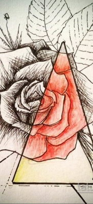 тату роза эскиз цветной 16.09.2019 №003 – tattoo rose sketch colored – tatufoto.com