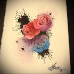 тату роза эскиз цветной 16.09.2019 №019 - tattoo rose sketch colored - tatufoto.com