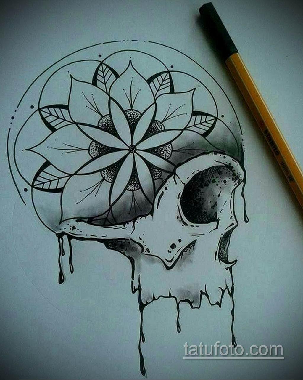 тату череп на кисти эскиз 17.09.2019 №002 - skull tattoo on brush sketch - tatufoto.com