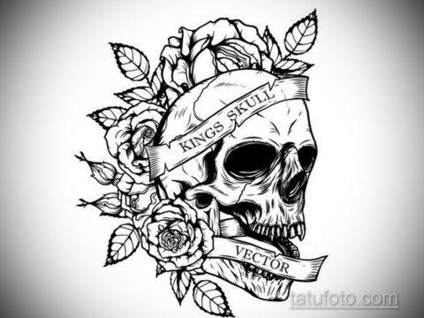 тату череп на кисти эскиз 17.09.2019 №011 - skull tattoo on brush sketch - tatufoto.com