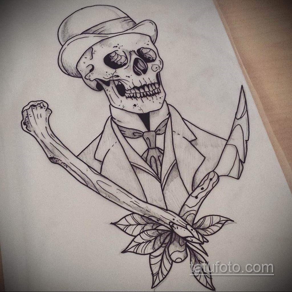 тату череп на кисти эскиз 17.09.2019 №026 - skull tattoo on brush sketch - tatufoto.com